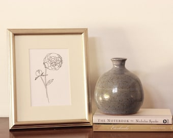 Peony Line Drawing, reproduction from original ink drawing