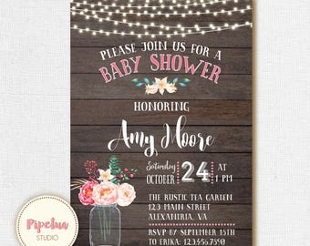 Baby Shower Invitation, Rustic Birthday Invitation. Mason Jar Baby Shower Invitation. Coed babyshower. Rustic babyshower invite.