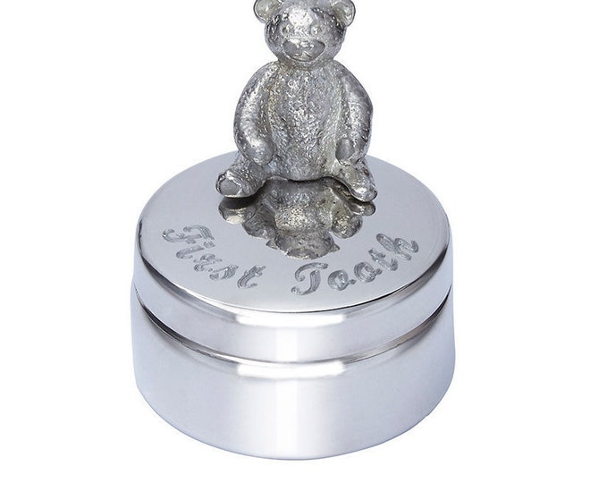 Personalised Baby First Tooth Teddy Pewter Trinket Box Customised Engraved Message