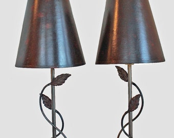 Two Metal Lamps with Shades