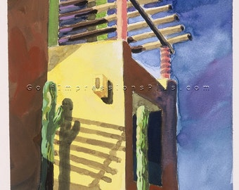 "Colorful Fine Art Print. Watercolor Painting. Wall Decor. Los Cabos, Mexico - ""Late Shadows""."