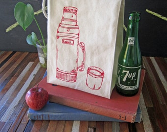 Lunch Bag - Screen Printed Recycled Cotton Lunch Bag - Reusable and Washable - Eco Friendly Lunch Box - Handmade - Canvas Tote Bag - Thermos