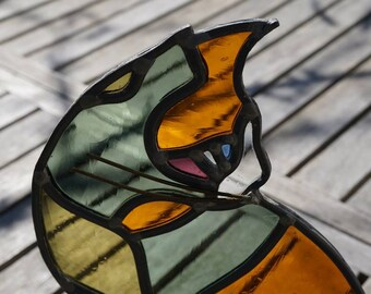 Cat in stained glass - handblown glass