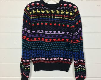 Vintage 1980s Rainbow Hearts Sweater / Novelty Print / Made by Eclipse / Cropped / Stripe