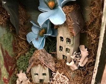 Miniature Fairy Garden- Book Art- Fairy Book- Mixed Media Book Art- Altered Book Art- Mixed Media Sculpture- Miniature Fairy Town- Garden