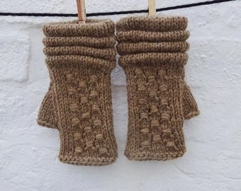 Natural Brown Alpaca and Wool Fingerless Gloves Mittens READY TO SHIP