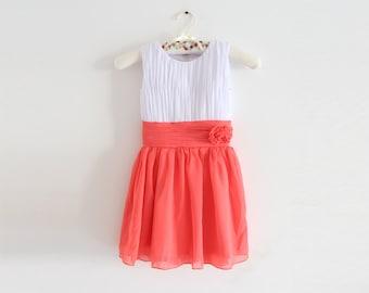 White Coral Knee-length Flower Girl Dress Chiffon Sleeveless