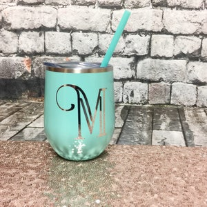 Metal Wine Glass - Metal Wine Tumbler - Bachelorette Party Favors - Personalized Wine Glass - Monogram Wine Glass - Blank Metal Wine Tumbler