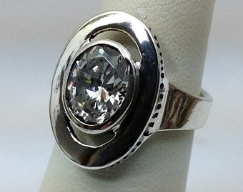 Large 8x10 cubic one of a kind sterling silver ring.