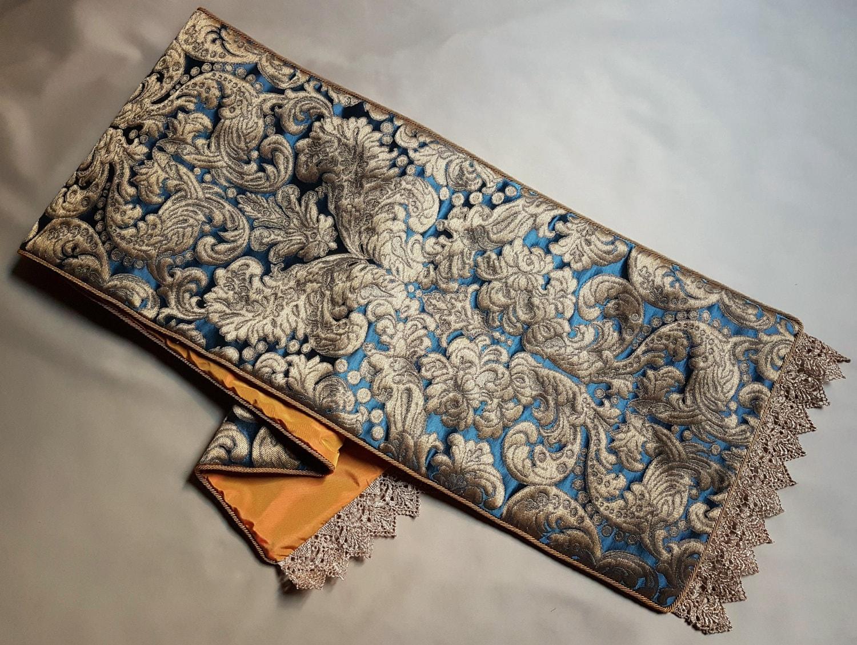 Luxus Tischläufer Blau & Gold Seide Brokatell Rubelli Tebaldo