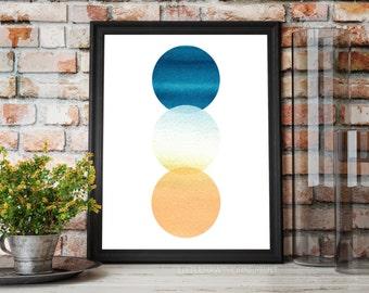 Watercolor Print, Art Print, Printable Art, Geometric Print