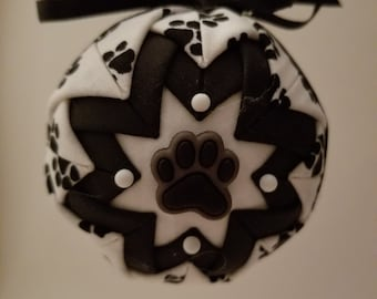 Black and White folded fabric handmade ornament with paw print