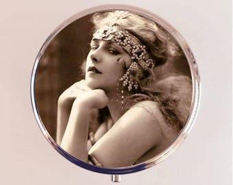 Flapper Cleopatra Pill Box Case Pillbox Holder Trinket Stash Box Art Deco 1920s Belly Dancer Boho Gypsy