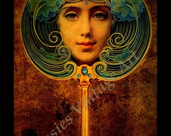 "Louis Welden Hawkins ""Face in Mirror"" Art Nouveau Giclee Artist's Print"