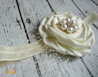 Bandeau crème Ivoire perle strass Net Veil Or Rose - Photo Prop - bébé nourrisson nouveau-né tout-petit filles adulte mariage