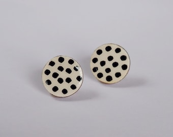 Handpainted wooden round stud earrings contemporary earrings