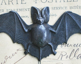 Bat Brass Stamping, Gothic Jewelry, Black satin Finish, Bats, Brass Stampings, jewelry and craft supplies, made in the usa