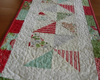 In From The Cold Christmas Red and Green Table Runner, Christmas Table Runner, Christmas Table Topper