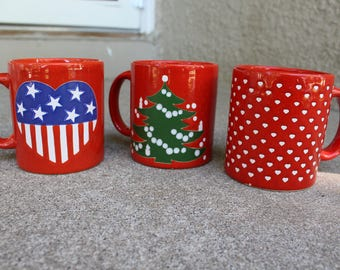 Vintage Ceramic Mugs Christmas Tree Stars Stripes Hearts Red Made in Germany Collectible Set Three Holidays Instant Collection