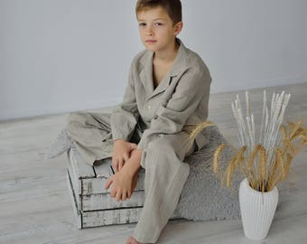 Linen Pajama Set Monogrammed For Boy 7-14 Years / Classic Pajama For Teenagers/ Luxury Night Wear for Children/ Flax Pajama Boys