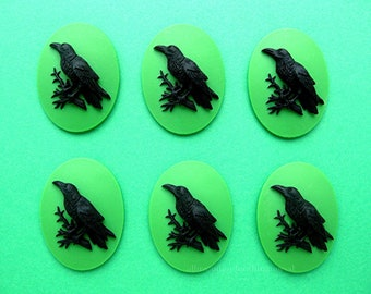 6 Black on Goblin Poison Green Crow Raven Blackbird Black Bird Witch Wiccan Voodoo Goth Emo 25mm x 18mm Resin CAMEOS LOT for Costume Jewelry
