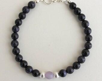 Beaded bracelet with black aventurine and purple agate with sterling silver 925, bracelet with black semiprecious stones, gemstones bracelet