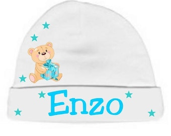 Personalized gift with name and white Teddy bear baby Hat