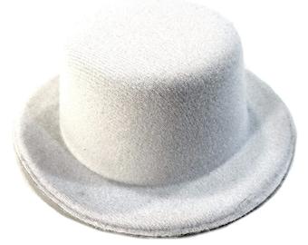 "5"" White Mini Flocked Felt Top Hats"