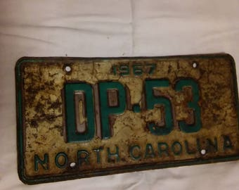 1967 NORTH CAROLINA License Plate