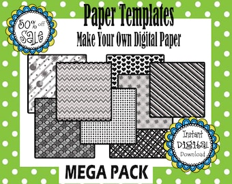 10 Different Digital Paper Templates- Make Your Own Digital Paper in ANY Color Combinations- Commerical Use
