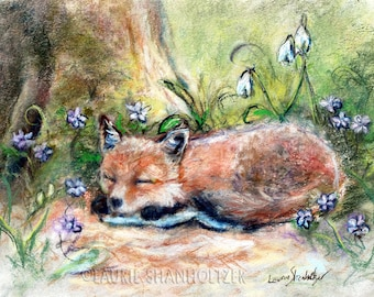"Fox animal wildlife woodland baby Nursery children decor, Canvas or Cotton art paper print, ""Sleepy Fox and Flowers"" by Laurie Shanholtzer"