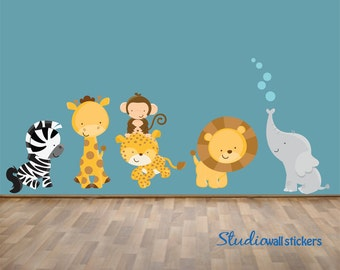 Jungle Animals WAll Decal REUSABLE