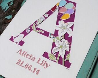 Personalised child's wall art – new baby gift – initial art – monogram – name paper cut – custom art –gift for baby – Christening gift