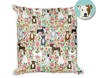 """Pitbull Florals - 18""""x18""""Square Pillow by Pet Friendly"""