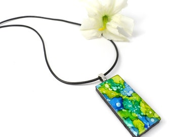 Green, Teal and Blue Necklace Pendant, Alcohol Ink Fluid Art Necklace, Wearable Art Jewelry
