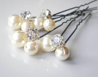 Bridal IVORY Pearl Rhinestone Hair Pins. Elegant Wedding Large Pearl Hair Pins. Swarovski Pearls. Bridal Hair Jewelry. Chic  Prom. B