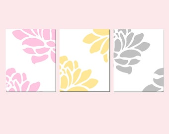 Modern Floral Trio - Set of Three Large Scale Flower Petal 11x14 Prints - CHOOSE YOUR COLORS - Shown in Light Pink, Pale Yellow, Light Gray