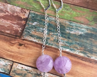 Pink Amethyst and Sterling Silver Earrings - Free U.S. Shipping
