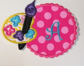 Iron On Applique -  Monogram Paint Palette and Scalloped Frame
