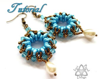 PDF Tutorial Duo-donut Earrings with SuperDuo beads adn Crystal Bicones, Instructions, Beading Pattern. English Only,