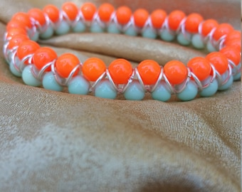 Mint and Coral 7 inch Stretch Bracelet