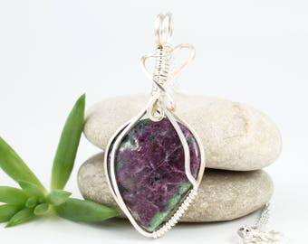 Wire Wrapped Pendant - Ruby Zoisite Necklace - Ruby Zoisite Pendant