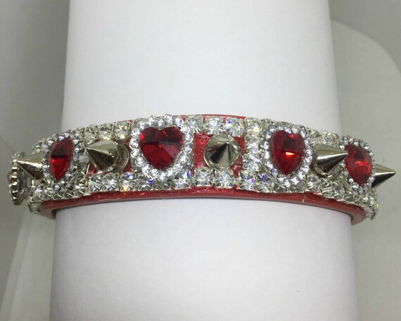 "Bling Cutie Pie Pet Collars TM ~Spikes & Ruby Red Hearts~ Wide 3/4""~Upscale~ Crystal Diamante Rhinestone Pet Dog PU Leather Collar USA"