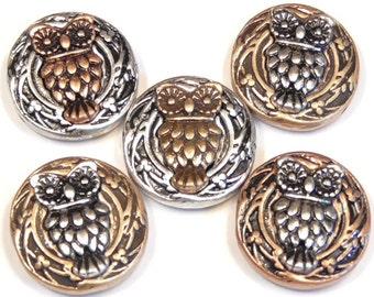Five 2 Hole Slider Beads Owls Antiqued Mixed Metals Copper Silver Brass Owl Beads Bird Beads Nature Beads Owl Beads Ornate Round Beads