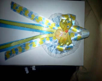 Custom cold porcelain  rubber ducky  baby shower corsage and 25 pins capias for guests