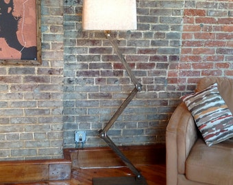 Floor Lamp, Rustic Zig-Zag Floor Lamp, Industrial Lamp, Rustic Lighting, Accent Lamp, Urban Floor Lamp, Handmade Lamp, Unique Lamp, Home