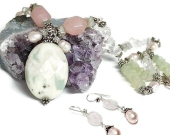 Necklace and earrings set, semi precious, womans, unique, Quartz, clear Rock crystal, soft green Jade, soft pink, pearls, free shipping