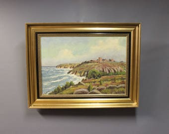 Oil painting on canvas of coast landscape