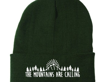 The Mountains Are Calling, Embroidered Beanie, Hiking Beanie, Hipster Beanie, Mountain Climbing Hat, Hiking Accessories, Winter Headwear