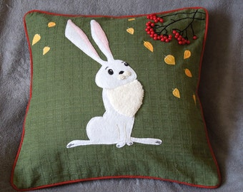 "Hare, rabbit cushion pillow cover ""Autumn Hare "", Handmade, appliqued, animal"